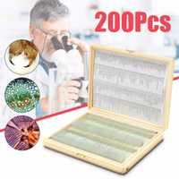 Biologie 200 pcs Préparé Biologique Sciences Fondamentales Microscope Lames de Verre Scolaire et De Laboratoire Étiquette Anglaise D'enseignement Échantillons
