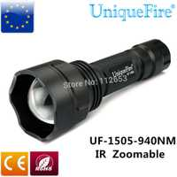 UniqueFire mejor LED negro linterna 1505 940NM IR Led luz infrarroja de la lente convexa de 38mm de la antorcha en la visión nocturna para Camping