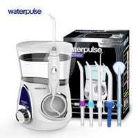 Waterpulse V600 cuidado Dental de agua recargable de recoger la limpieza de los dientes irrigador Oral de chorro de agua Flosser hilo con 5 piezas Jet consejos