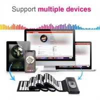 88 teclas USB MIDI Roll Up Piano recargable electrónico Piano silicona Flexible teclado órgano incorporado altavoz soporte Bluetooth