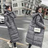 Invierno suelto abrigo chaqueta a cuadros de mujeres de piel elegante, Casaco Feminino Abrigos para Mujer Invierno de algodón acolchado Wadded Parkas