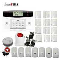 SmartYIBA Alarma Residencial GSM sistema de alarma de seguridad con Sensor de humo y Flash sirena de alerta de SMS Auto antirrobo alarma