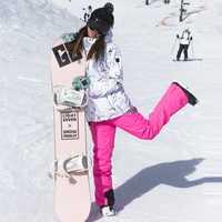 Traje de esquí de las mujeres de invierno al aire libre impermeable a prueba de viento cálido grueso esquí chaqueta overoles de doble placa de ropa de esquí