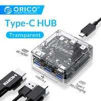ORICO USB transparente C HUB tipo C a Multi USB3.0 4 K HDMI 60 W PD adaptador de carga rápida de acoplamiento estación para MacBook Pro Huawei