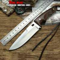 LCM66 cuchillo de caza táctico pequeño fija cuchillos cobre mango de ébano cuchillo de supervivencia Camping cuchillo portátil cs hecho a mano
