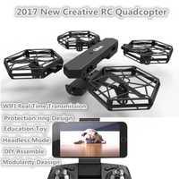 DIY monta RC quadcopter T908W 2,4G sin cabeza modo divertido creativo doble WIFI control remoto en tiempo real rc drone niños juguete RC