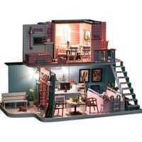 Bricolaje cabina polvo de café de tendencia de moda casa creativo juguetes de simulación de madera casa de muñecas juguetes para niños regalos de cumpleaños
