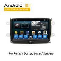 Android Octa Core coche Sistema de música en el coche dvd reproductor multimedia doble din estéreo para Renault Duster Logan Sandero 2012, 2013