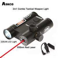 2in1 Combo táctico 650nm punto rojo láser Riflescope vista alcance con 220LM luz táctica arma pistola de luz para pistola caza