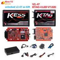 En línea de la UE rojo 4 LED Kess V2 5.017 OBD2 gerente ajuste Kit rojo KTAG V7.020 No muestra K-TAG 7.020 maestro v2.47 ECU programador