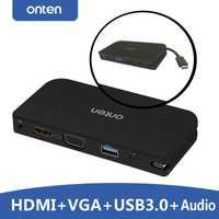 Tipo C a HDMI VGA USB 3,0 hub de Video de Audio convertidor de adaptador para Macbook de Google para Google Chromebook Pixel a tv proyector