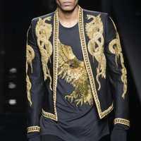 Blazer hecho a mano para hombre, trajes, chaqueta, cuello plano, traje de boda, vestido real, dorado, con cuentas, trajes para fiesta, novio