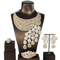 Gran Lujo cola del Pavo Real las mujeres de compromiso cúbicos Zirconia collar pendiente la joyería de Dubai joyería adicción