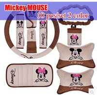 10 unids/set 2 colores para Mickey MOUSE accesorios del coche accesorios de coche decoración cubierta de freno de mano del cinturón de seguridad