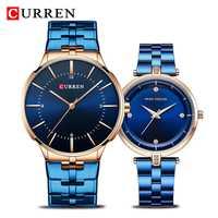 Relojes CURREN & MINIFOCUS Set marca superior reloj de cuarzo azul de acero de lujo a la moda para hombre reloj Casual a prueba de agua reloj Masculino reloj