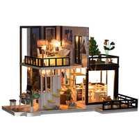 Casa de muñecas hecha a mano con muebles en miniatura casas de muñecas DIY casa de muñecas en miniatura juguetes de madera de cocina para niños regalo de cumpleaños
