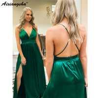Sexy verde sin espalda 2019 vestidos de graduación Sweetheart A Line High Split elástico satinado largo vestidos de fiesta de noche bata barata de velada