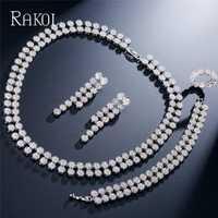 RAKOL forma redonda ZIrconia cúbico Dubai collar pendientes brazalete y anillo joyería para las mujeres boda joyería de lujo Set