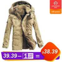 Chaqueta de invierno los hombres Casual de terciopelo grueso cálido chaquetas contra congelación Parkas Hombre para Hombre de algodón ejército chaqueta con capucha larga trinchera abrigo