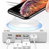 Cargador inalámbrico Qi de 40 W con LED 4 puertos USB tipo C PD carga rápida 3,0 carga rápida para iPhone 8 Xs Max Samsung Huawei