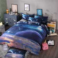 Nuevo juego de ropa de cama 3D Hipster galaxia universo espacio exterior temática galaxia imprimir cama ropa de cama edredón cubierta de hoja y almohada caso