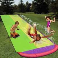 4.8 m géant Surf 'N Double toboggan aquatique pelouse toboggans pour enfants piscine d'été enfants jeux amusants jouets cour extérieure vague cavalier