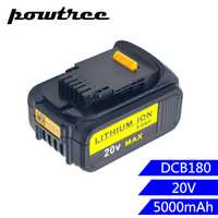 5000 mAh Li-Ion DCB180 recargable batería de la herramienta eléctrica para DEWALT DCB180... DCB181... DCB181-XJ... DCB200... DCB201... DCB201-2... DCB204... DCB20 L10
