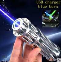 JSHFEI 5000 m azul punteros láser 450nm láser linterna quemando encuentro/luz cigarros quemar/vela de pluma