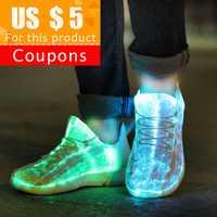 KRIATIV baskets lumineuses tissu Fiber optique brillant éclairer chaussures pour enfants blanc baskets à LED chaussures clignotantes avec lumière