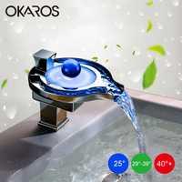 OKAROS grifo LED baño cuenca grifo latón cromo terminado LED cascada grifos de agua de cuenca Led grifo mezclador Torneira