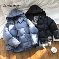 CamKemsey grueso cálido abrigos de invierno de las mujeres 2019 de moda de algodón acolchado con capucha chaquetas de invierno mujer Parkas