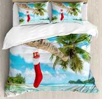 De navidad juego de funda nórdica reina tamaño calcetín de La Palma árbol playa Tropical isla Maldivas festivo diseño ropa de cama conjunto