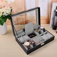 Multi-funcional de 8 + 2 reloj de joyería caja de cuero de la PU de alta calidad, caja de reloj de caja de reloj organizador de almacenamiento AP12051544