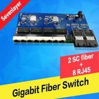 Gigabit Ethernet de fibra óptica convertidor de medios/10/100/1000 M PCBA 8 RJ45 UTP y 2 SC fibra de Puerto placa PCB envío gratis