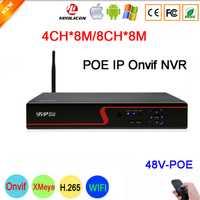 8MP/5mp/4mp/3mp/2mp/1mp cámara IP del Panel rojo Hi3536C vmeyesuper de 8MP Wifi 4CH /8CH H.265 48 V POE IP Onvif Cámara del CCTV NVR envío gratis