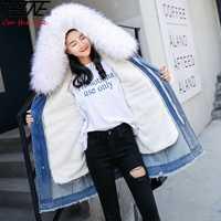2018 abrigo de invierno para Mujer Parka Denim Jeans chaquetas largas desmontable de lana de gran piel con capucha Chaqueta Mujer chaquetas de invierno cálidas para Mujer