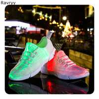 Moda caliente LED USB brillo mujer zapatos casual lace up flats chica niños cómodo ocio zapatos amante divertido noche danza zapatos