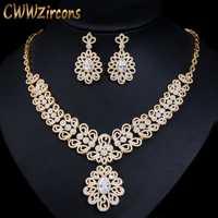 CWWZircons nigeriano Zirconia cúbico boda grande collar y pendientes de lujo de Dubai amarillo conjuntos de joyas de oro para las mujeres T130