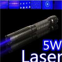 SOS alta potencia militar 450nm 5 W 30000 M linterna lazer azul puntero láser Luz fuego partido/madera seca/Negro/cigarrillos + 5 tapas
