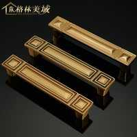 Chino puro cobre mango negro completo cobre estilo europeo manija de la puerta armario cajón