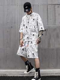 Hommes noir blanc à manches courtes T-shirt ensembles (T-shirt + shorts) décontracté homme Streetwear Hip Hop lâche t-shirts costumes