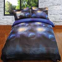 Juego de cama 3d Galaxy tamaño reina universo espacio exterior temática colcha 4 piezas azul planeta nebulosa sábanas de lino edredón cubierta