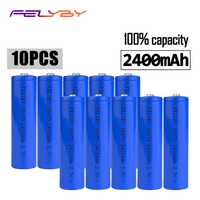 FELYBY 10 piezas 3,7 V de litio de 18650 marca 100% capacidad 2400 mAh batería recargable 18650 batería li-ion para láser bolígrafo linterna