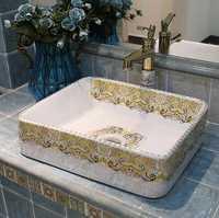2019 Venta caliente nuevo diseño de cuarto de baño de cerámica artística disipador buque cuenca CB19014