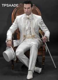 Blanco Stand Collar hombres Collar del soporte moda esmoquin bordado Noble Terno Blazer (chaqueta + Pantalones + Bowtie + pañuelos)