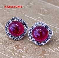 KJJEAXCMY productos de moda de Plata nuevo listado Ms. hebilla de oreja incrustada corindón rojo S925 plata