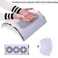 3 Ventilador de arte de uñas Profesional Colector de Polvo para Limpieza de Uñas con 2 bolsas de recogida de polvo