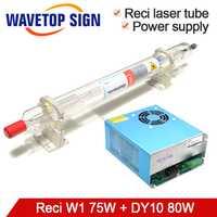 Tubo láser RECI W1 75 W + fuente de alimentación láser DY10 CO2 tubo láser 80 W longitud 1050mm Dia.80mm uso para máquina de marca láser CO2