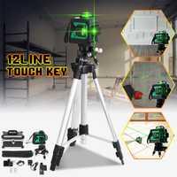 12 línea 3D luz verde nivel láser autonivelante de 360 Vertical Horizontal Cruz Super poderoso rayo láser de w /soporte del trípode