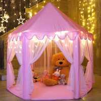 Tienda de juegos para niñas hexágono princesa Castillo Casa Palacio carpas niños Playhouse con luz de estrella para interior y exterior (rosa)